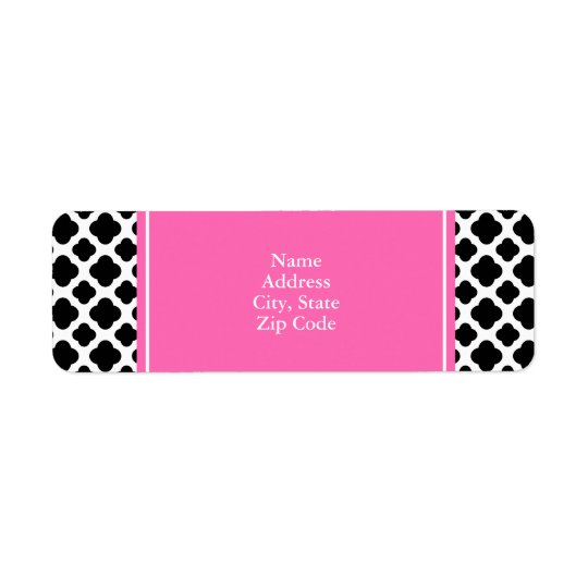 Black and White Quatrefoil with Hot Pink