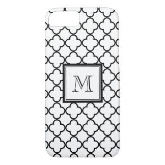 Black and White Quatrefoil, Your Monogram iPhone 8/7 Case