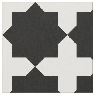 Black and White quilt star pattern Fabric