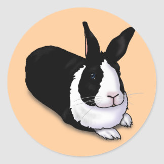 Black and White Rabbit Classic Round Sticker
