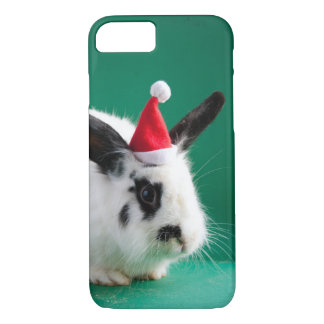 Black and white rabbit in Christmas hat iPhone 7 Case