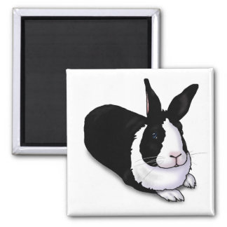 Black and White Rabbit Magnet