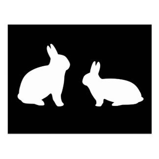 Black and White Rabbits Postcard - Customizable!