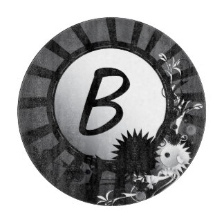 Black and White Radial Monogram | Cutting Board