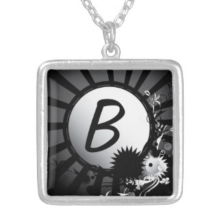 Black and White Radial Monogram | Necklace