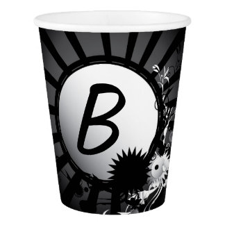 Black and White Radial Monogram | Paper Cup