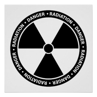 Black and White Radiation Symbol Poster
