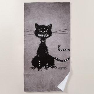 Black And White Ragged Evil Black Cat Beach Towel