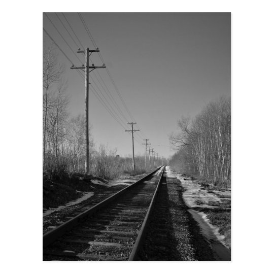 Black and White Rails Postcard
