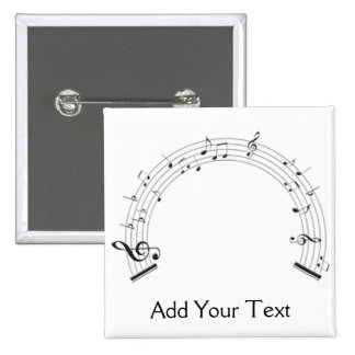 Black and White Rainbow Shaped Music Staff 2 Inch Square Button