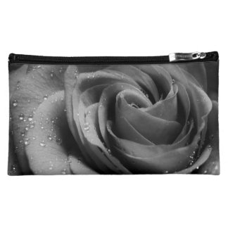 Black and White Raindrop Rose Make Up Cosmetic Bag