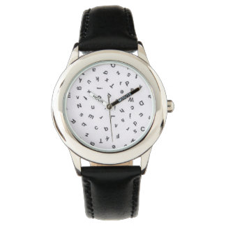 Black and White Random Letters Wrist Watch