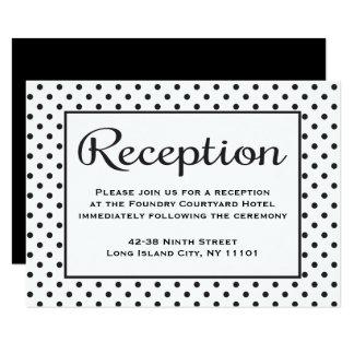 "Black And White Reception Polka Dot Wedding Event 3.5"" X 5"" Invitation Card"
