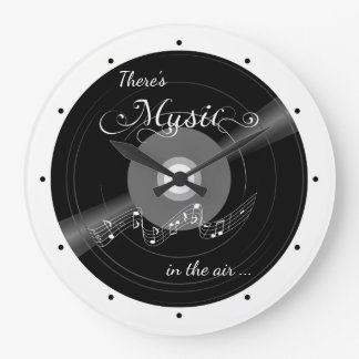 Black and White Record Music Wall Clock