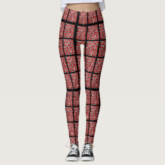 Black and White Red Lips Abstract Textile Leggings