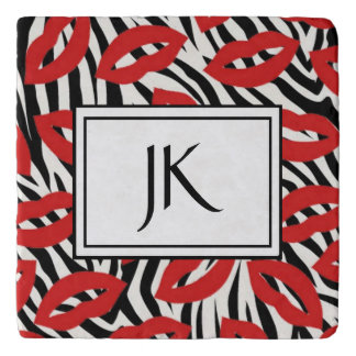 Black and White Red Lips Zebra Striped Coaster