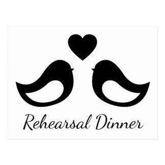 Black And White Rehearsal Dinner Lovebirds Wedding Postcard