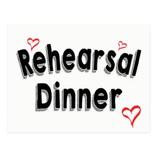 Black And White Rehearsal Dinner Red Heart Wedding Postcard