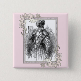 Black And White Renaissance Fashion 2 Inch Square Button