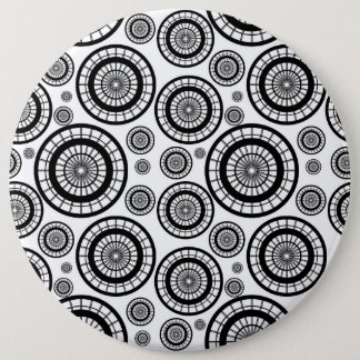 Black and White Repeating Wheel Pattern 6 Inch Round Button