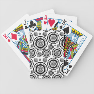 Black and White Repeating Wheel Pattern Bicycle Playing Cards