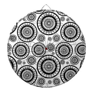 Black and White Repeating Wheel Pattern Dartboard