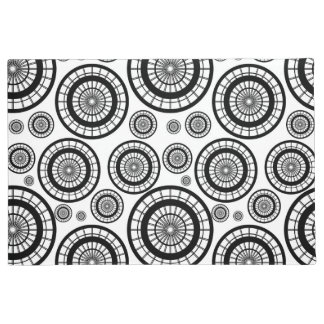 Black and White Repeating Wheel Pattern Doormat