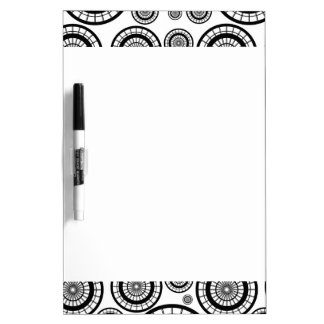Black and White Repeating Wheel Pattern Dry Erase Board