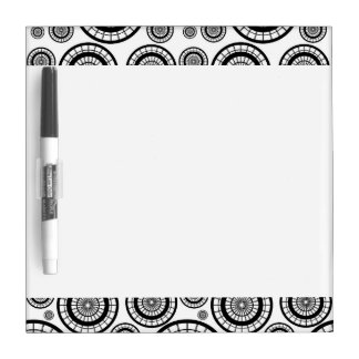 Black and White Repeating Wheel Pattern Dry Erase Whiteboard