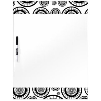 Black and White Repeating Wheel Pattern Dry Erase Whiteboards
