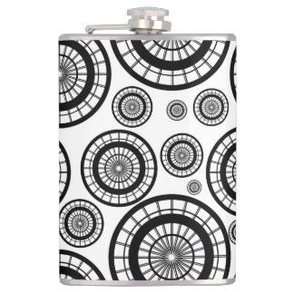 Black and White Repeating Wheel Pattern Hip Flask