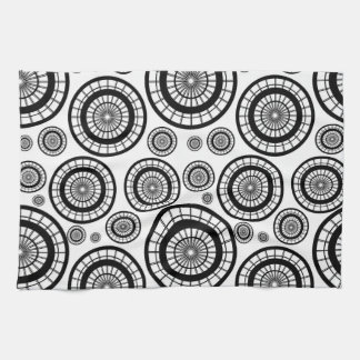 Black and White Repeating Wheel Pattern Kitchen Towel
