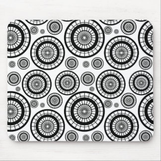Black and White Repeating Wheel Pattern Mouse Pad