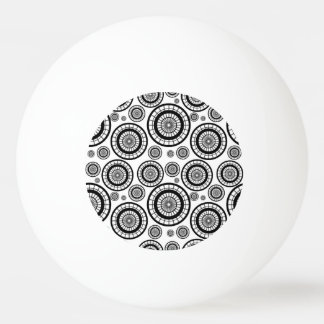 Black and White Repeating Wheel Pattern Ping Pong Ball