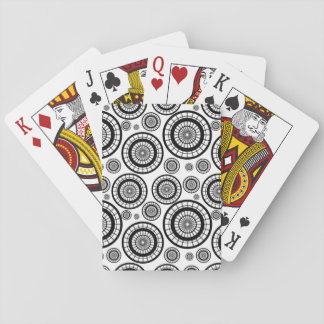 Black and White Repeating Wheel Pattern Playing Cards