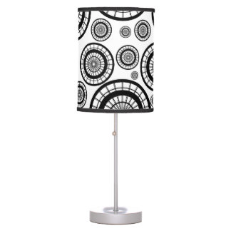 Black and White Repeating Wheel Pattern Table Lamp