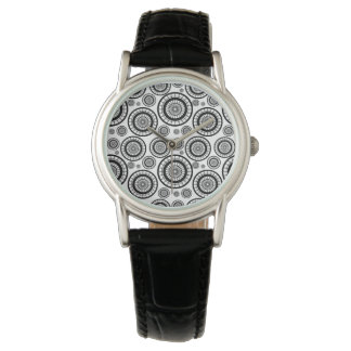 Black and White Repeating Wheel Pattern Watch