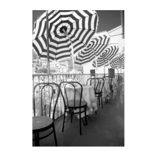 Black And White Restaurant Tables Acrylic Wall Art