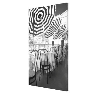 Black And White Restaurant Tables Canvas Print