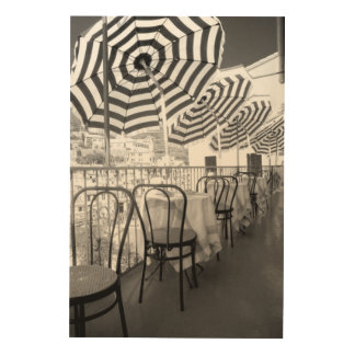 Black And White Restaurant Tables Wood Print
