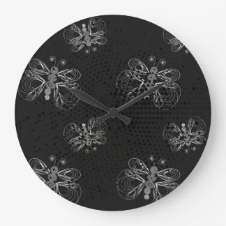 Black and white retro butterfly pattern. wallclock