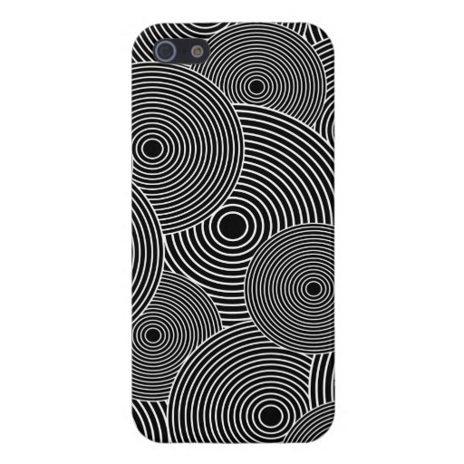 Black and White Retro Circles Pattern iPhone 5 Cover