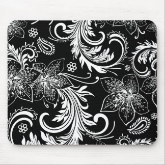Black And White Retro Flowers & Swirls Design Mouse Pad