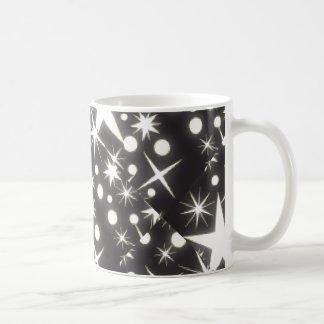 Black and White Retro Stars Print Coffee Cup Classic White Coffee Mug