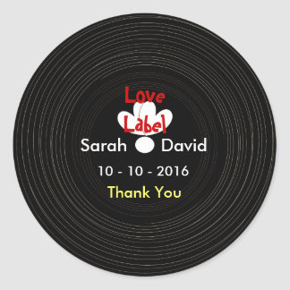 Black and White Retro Vinyl Music Record Themed Sticker