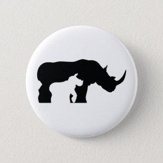 Black and White Rhino 2 Inch Round Button
