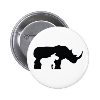 Black and White Rhino 2 Inch Round Button