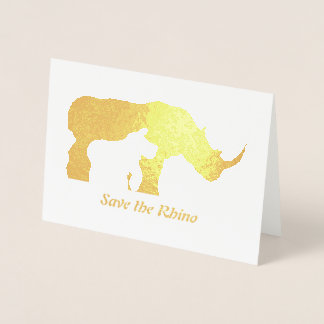 Black and White Rhino Foil Card