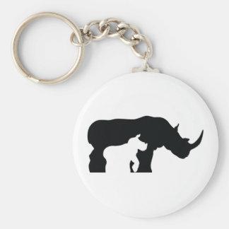 Black and White Rhino Keychain