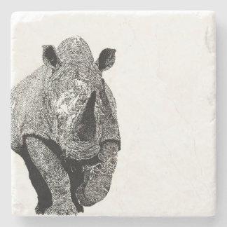Black and white Rhino Stone Coaster